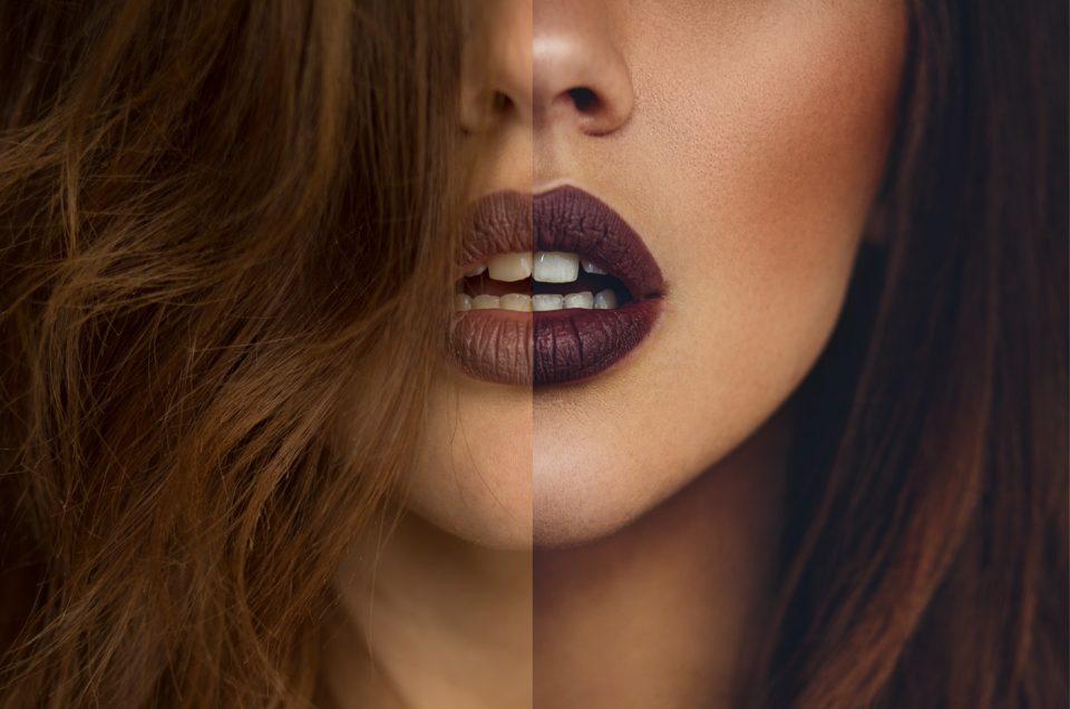 Vorher/Nachher von sehr sinnlichen Lippen